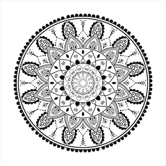 Zwarte mandala voor ontwerp, mandala cirkelvormig patroonontwerp voor henna