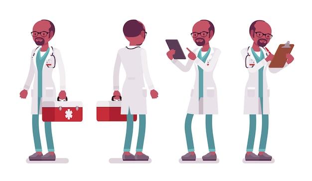 Zwarte mannelijke arts in staande pose.