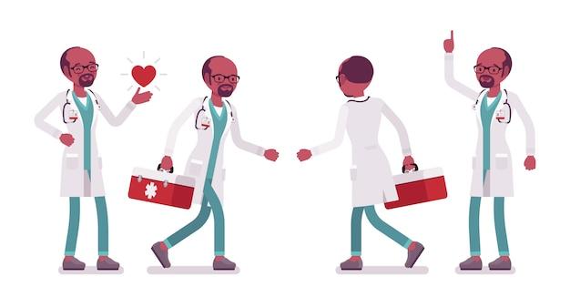 Zwarte mannelijke artsen werkende banner
