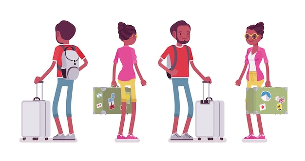 Zwarte mannelijke en vrouwelijke toerist status