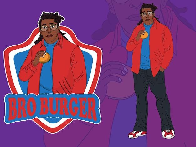 Zwarte mannelijke mascotte stripfiguur hamburger eten