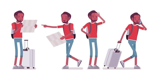 Zwarte mannelijke toerist in reissituaties
