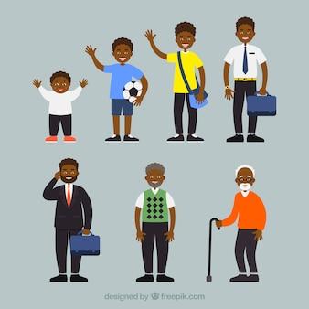 Zwarte mannencollectie in verschillende leeftijden