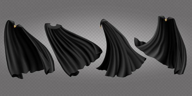 Zwarte mantels, capes zij-, achter- en vooraanzicht ingesteld