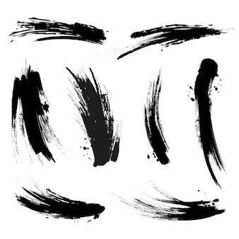 Zwarte mascara penseelstreken trace ingesteld op wit