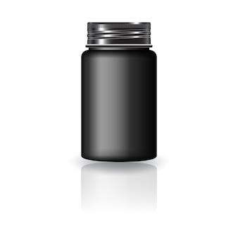 Zwarte medicijn ronde fles met zwarte schroefdop voor schoonheid of gezond product.