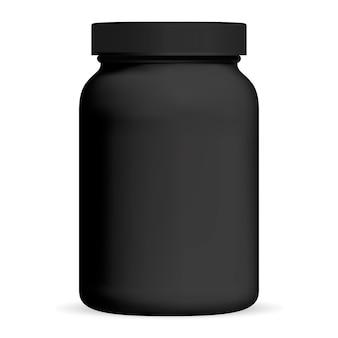 Zwarte medicijnfles. supplement verpakking. pot