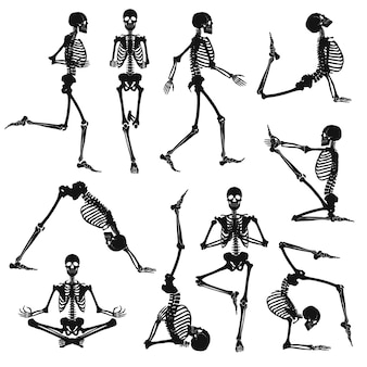 Zwarte menselijke skeletten
