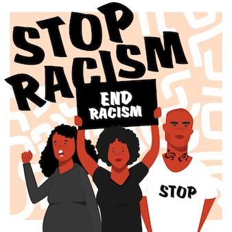 Zwarte mensen protesteren samen tegen racisme