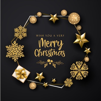 Zwarte merry christmas achtergrond