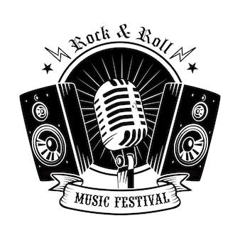 Zwarte microfoon en luidsprekers vector illustratie. vintage promotioneel logo voor concert of muziekfestival