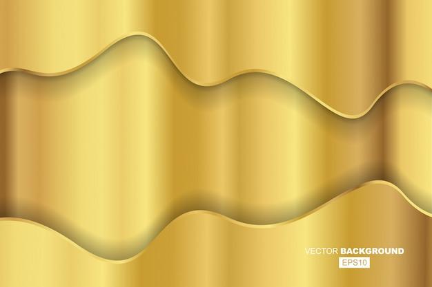 Zwarte moderne vloeiende achtergrondsamenstelling met gouden verlopen en gouden metalen golvende lijn met schaduw
