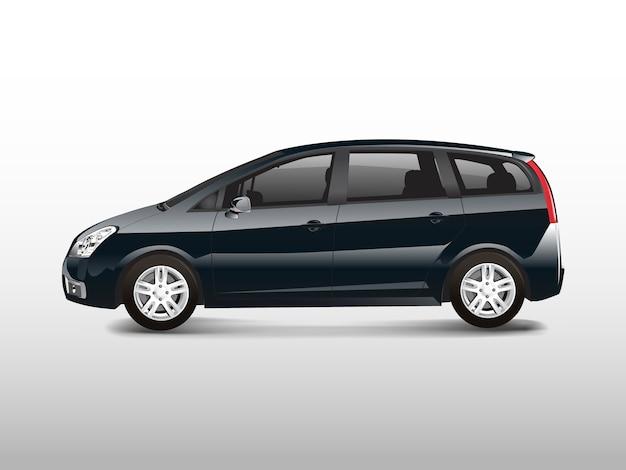 Zwarte mpv minivan automobiel vector