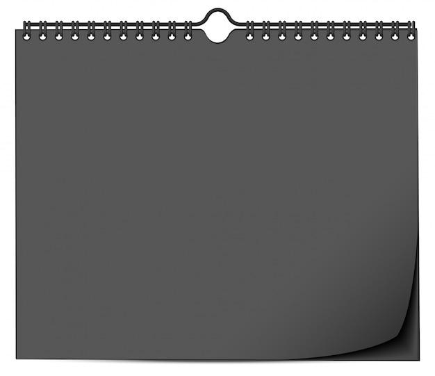 Zwarte muur kalendersjabloon met veer