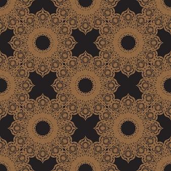Zwarte naadloze patroon met vintage ornamenten. goed voor achtergronden, prints, kleding en textiel. vector illustratie.