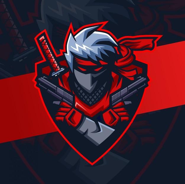 Zwarte ninja met geweren mascotte esport logo-ontwerp
