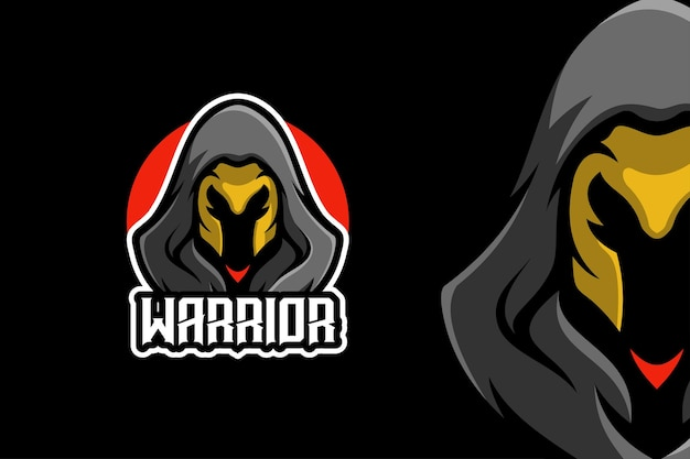 Zwarte ninja warrior mascotte karakter logo sjabloon
