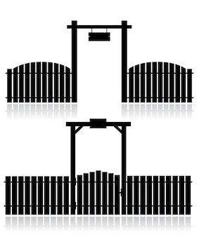 Zwarte omheining met poort die op wit wordt geïsoleerd