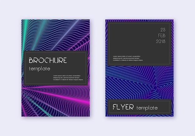 Zwarte omslag ontwerpsjabloon set. neon abstracte lijnen op donkerblauwe achtergrond. geweldig omslagontwerp. boeiende catalogus, poster, boeksjabloon enz.