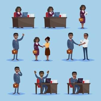 Zwarte ondernemers in set van pictogrammen
