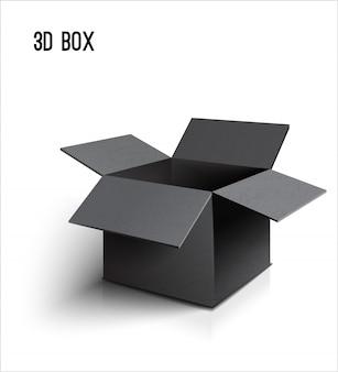 Zwarte open kartonnen doos