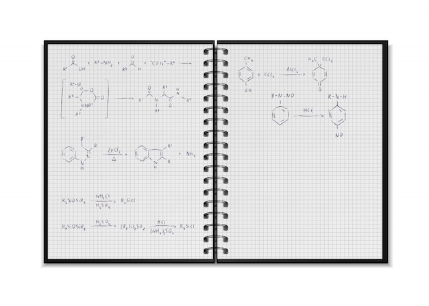 Zwarte open realistische school notebook met chemische reactievergelijkingen en formules op vierkante rasterbladen op wit