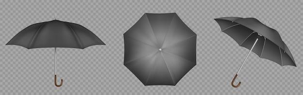 Zwarte paraplu, parasol boven-, zij- en vooraanzicht