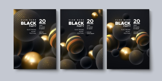 Zwarte partij poster mockup