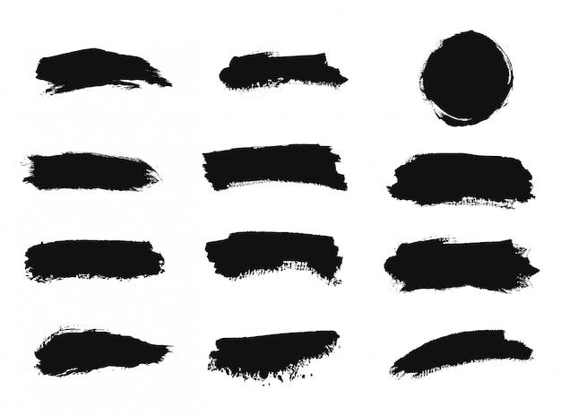 Zwarte penseelstreek aquarel textuur.