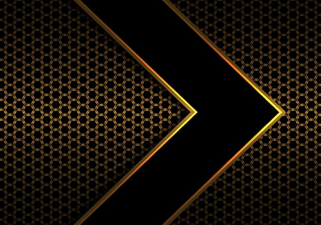 Zwarte pijl gouden lijn op hexagon netwerkpatroon.