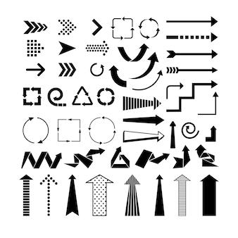 Zwarte pijlen. pictogrammen voor routebeschrijvingen en aanwijzers