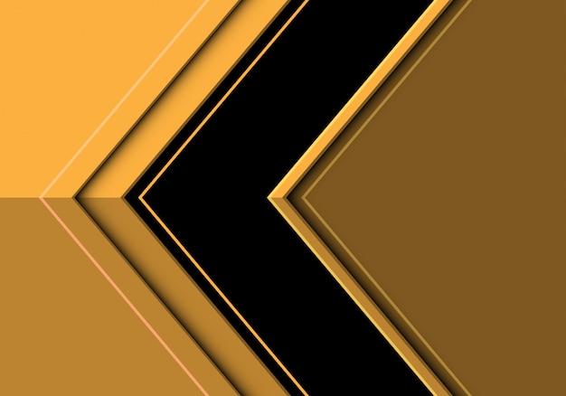Zwarte pijlrichting op gele moderne futuristische achtergrond.
