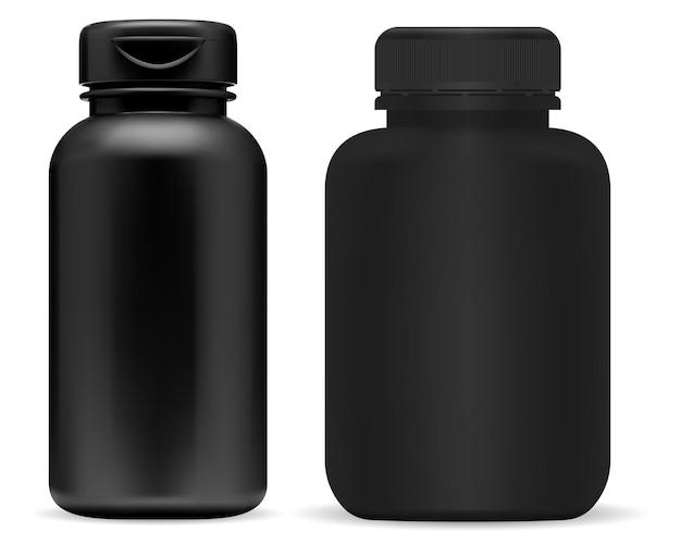 Zwarte pil fles mockup. supplement potje, plastic bakje. recept tabletpot leeg, geïsoleerd product. Premium Vector