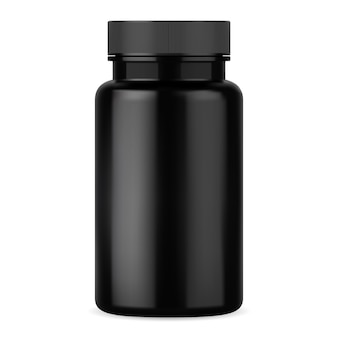 Zwarte pil fles. supplement tabletcontainer
