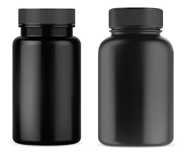 Zwarte pil supplement fles vitamine pot plastic mockup zwarte medicijncontainer met dop