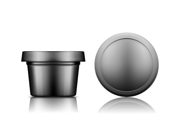 Zwarte plastic cosmetische pot met dop bovenaanzicht mockup geïsoleerd van de achtergrond