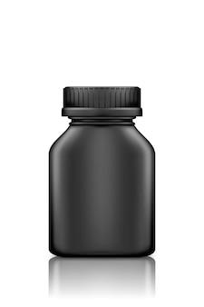 Zwarte plastic geneeskunde vierkante fles mockup geïsoleerd op een witte achtergrond