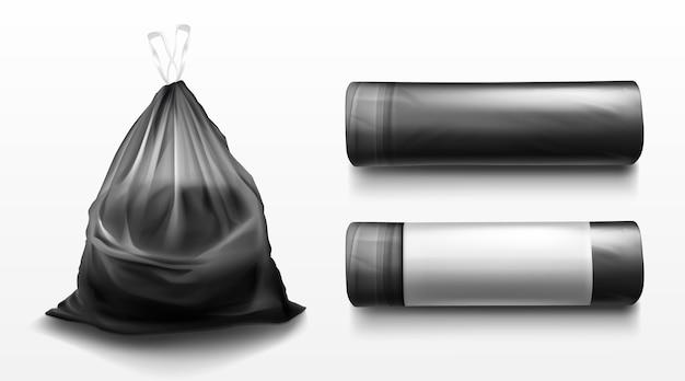 Zwarte plastic zak voor afval, huisvuil en afval. realistische sjabloon van polyethyleen vuilniszak op rol en vol afval. gebonden zak met afval geïsoleerd op transparante achtergrond