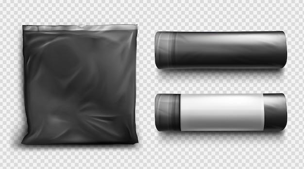 Zwarte plastic zak voor afval, vuilnis en afval. vector realistische mockup van polyethyleen vuilniszak met touwtje.