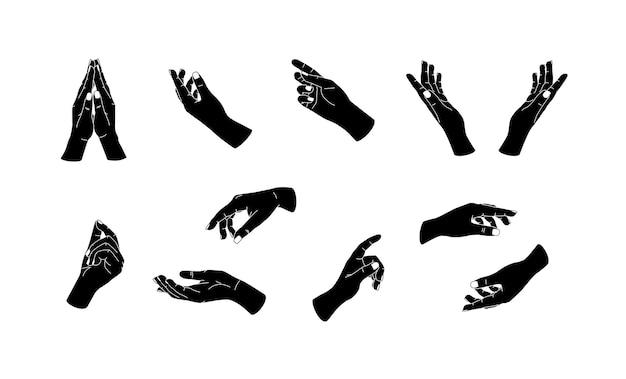 Zwarte platte handen gebaar pictogrammen eenvoudige minimale arm mooie vrouwelijke handen trendy minimalistische stijl