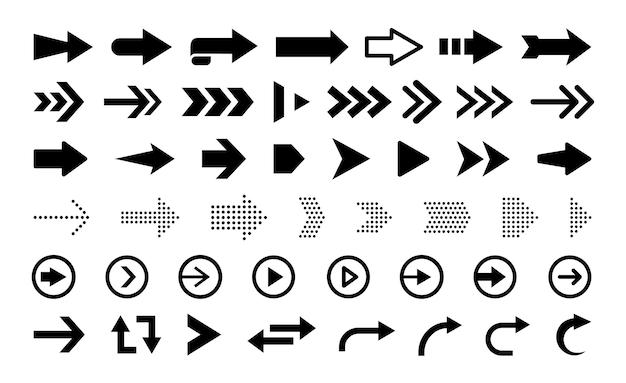 Zwarte platte pijlen en wijzers geïsoleerd op een witte achtergrond grote vector set navigatie-elementen