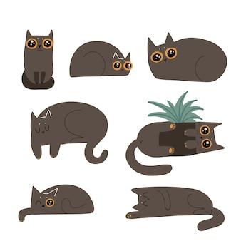 Zwarte pluizige katten set. leuke grappige liegen stripfiguren. ondeugende criminele karakters met grote ogen. vlakke hand getekende illustratie.