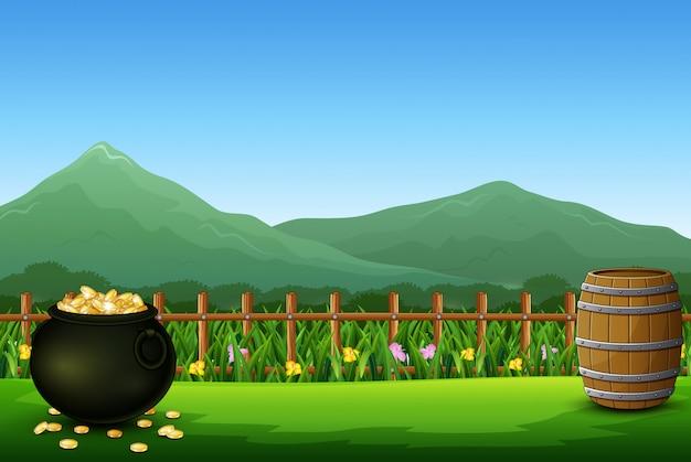 Zwarte pot met volledige munten op de prachtige natuur