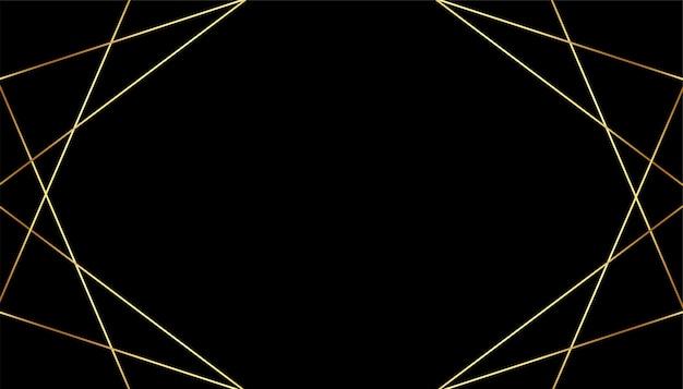 Zwarte premium achtergrond met gouden geometrische lijnen