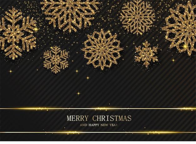 Zwarte prettige kerstdagen en gelukkig nieuwjaarskaart met prachtige gouden glanzende sneeuwvlokken Premium Vector