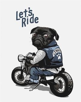 Zwarte pug op motorfiets cartoon afbeelding