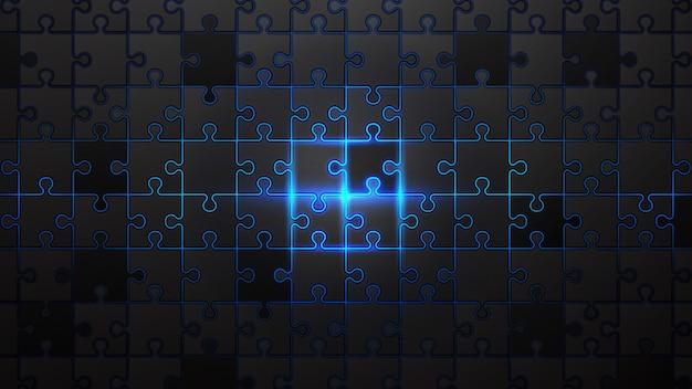 Zwarte puzzel op de blauwe neon achtergrond