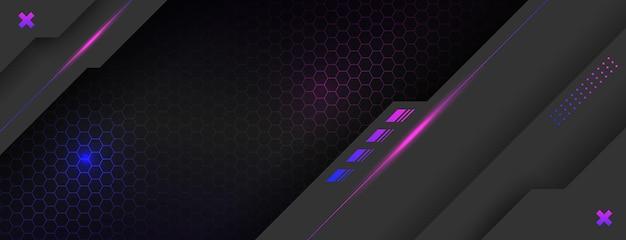 Zwarte realistische achtergrond met paarse geometrische lijnen