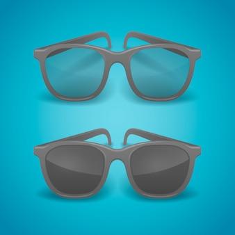 Zwarte realistische bril en zonnebril.