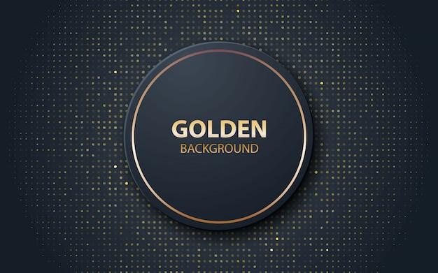 Zwarte realistische decoratie cirkelvorm met gouden glitters